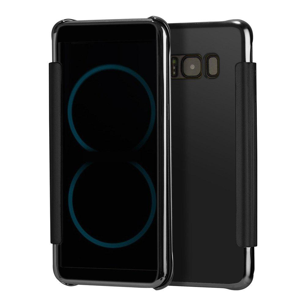 Mirror Plating Flip Ultra Thin Cover for Samsung Galaxy S8 Plus Case - BLACK