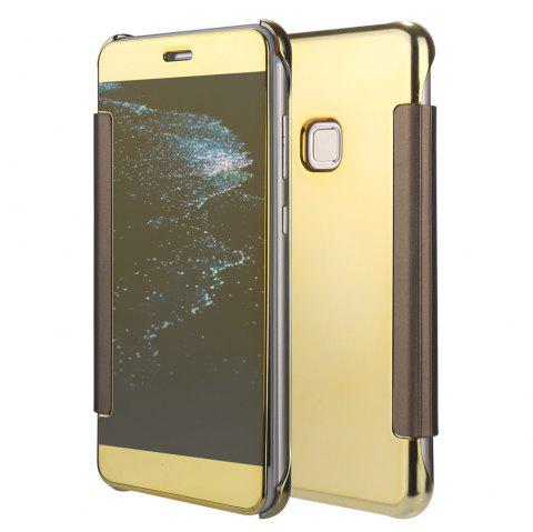 Original Electroplating Mirror Full View Window Luxury Smart Flip Cover for Huawei P10 Lite Leather Case - GOLDEN
