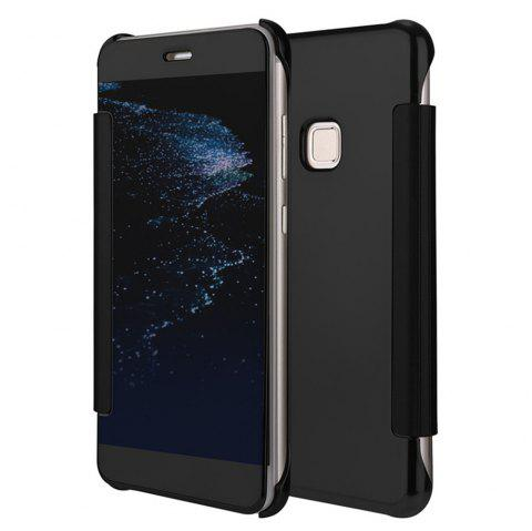 Original Electroplating Mirror Full View Window Luxury Smart Flip Cover for Huawei P10 Lite Leather Case - BLACK