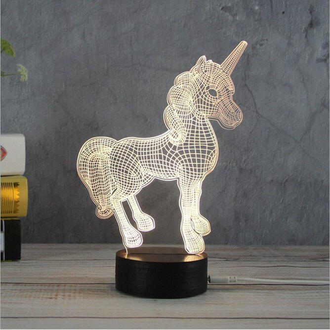 3D Unicorn Night Lights Creative Acrylic 3D LED Light Table Lamp Decotation Ligts for Home Kids Room Gift yimia creative 4 colors remote control led night lights hourglass night light wall lamp chandelier lights children baby s gifts