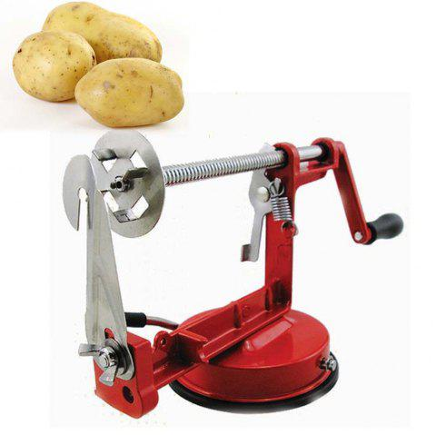 Manual Stainless Steel Spiral Slicer Potato Twisted French Fry Vegetable Cutter - RED