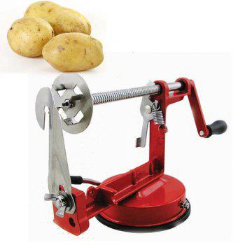 Manual Stainless Steel Spiral Slicer Potato Twisted French Fry Vegetable Cutter - RED RED