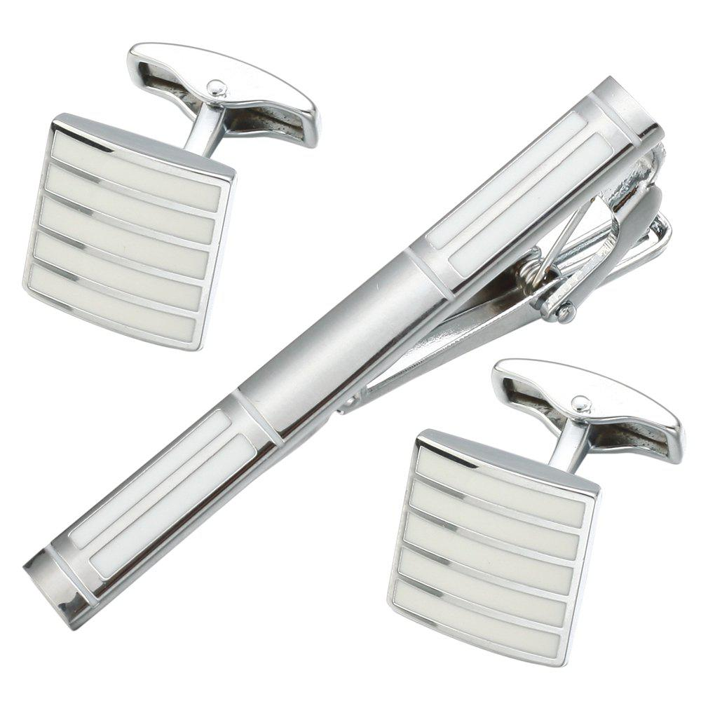 Luxury Enamel White Cufflinks Tie Clip Set for men Gift - WHITE