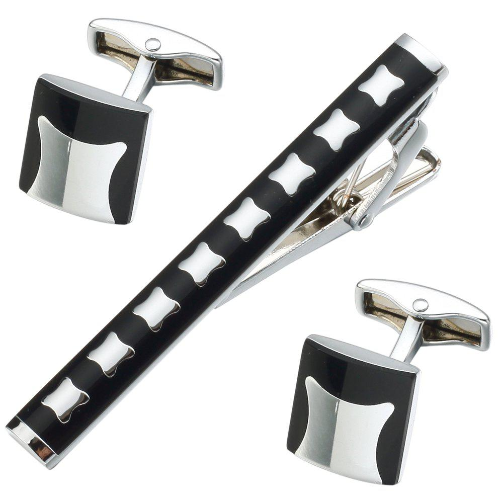 Men Cross grace Shirt Sleeve Nail Striped Cufflinks Tie Clip Set - BLACK
