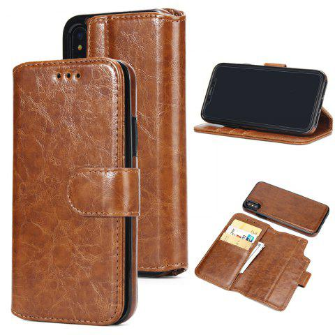 Two In One Split Stone Pattern PU Leather Case for IPhone X - BROWN