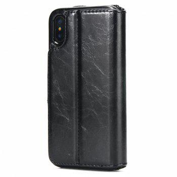 Two In One Split Stone Pattern PU Leather Case for IPhone X - BLACK