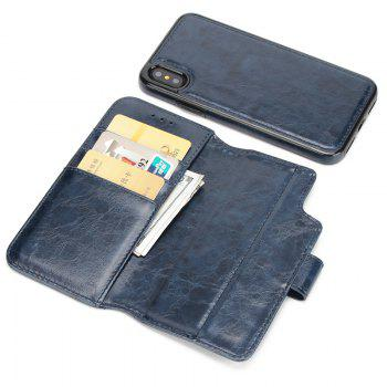 Two In One Split Stone Pattern PU Leather Case for IPhone X - BLUE