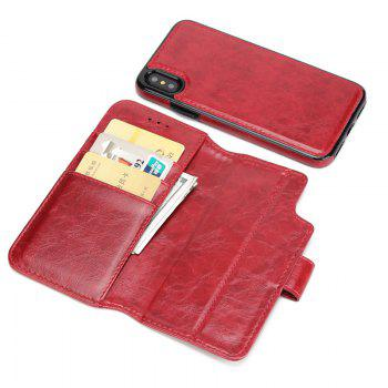 Two In One Split Stone Pattern PU Leather Case for IPhone X - DEEP RED