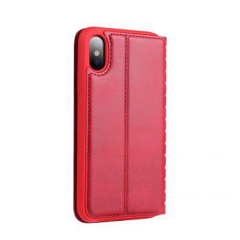 Ladder Series PU Leather Wallet Case for iPhone X - RED