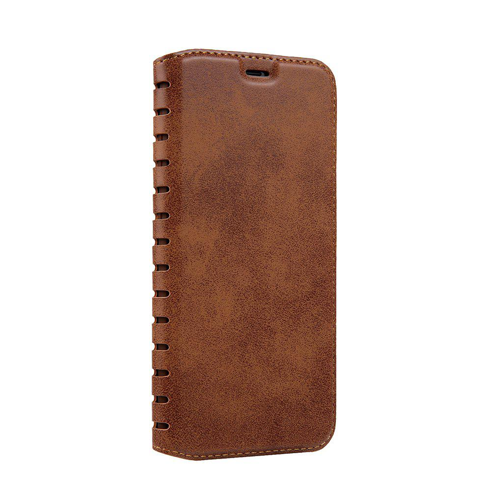 Ladder Series PU Leather Wallet Case for iPhone X - BROWN
