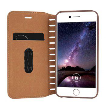 Ladder Series PU Leather Wallet Case for iPhone 7 Plus - BROWN