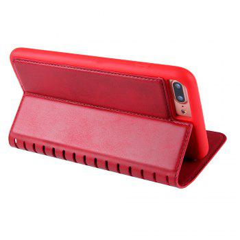 Ladder Series PU Leather Wallet Case for iPhone 7 Plus - RED