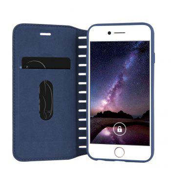 Ladder Series PU Leather Wallet Case for iPhone 7 Plus - BLUE