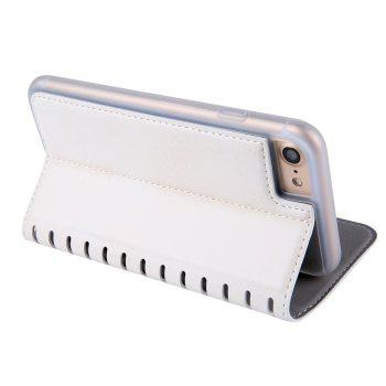 Ladder Series PU Leather Wallet Case for iPhone 8 - WHITE