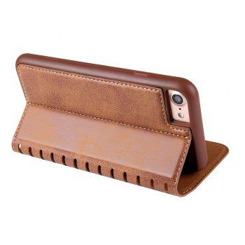 Ladder Series PU Leather Wallet Case for iPhone 8 - BROWN
