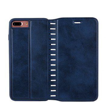 Ladder Series PU Leather Wallet Case for iPhone 8 Plus - BLUE