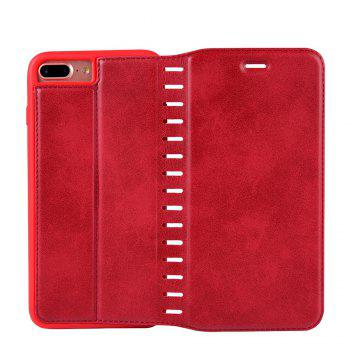 Ladder Series PU Leather Wallet Case for iPhone 8 Plus - RED