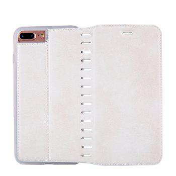 Ladder Series PU Leather Wallet Case for iPhone 8 Plus - WHITE