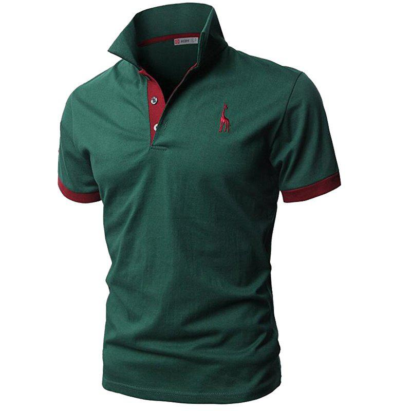Men's Fashion Personality Cultivating Short-sleeved Shirt POLO T Shirts - BLACKISH GREEN M