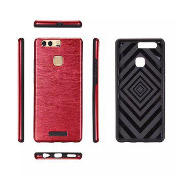 Metal Wiredrawing Soft TPU Hybrid Shockproof Hard Armor Case for Huawei P9 Plus - RED