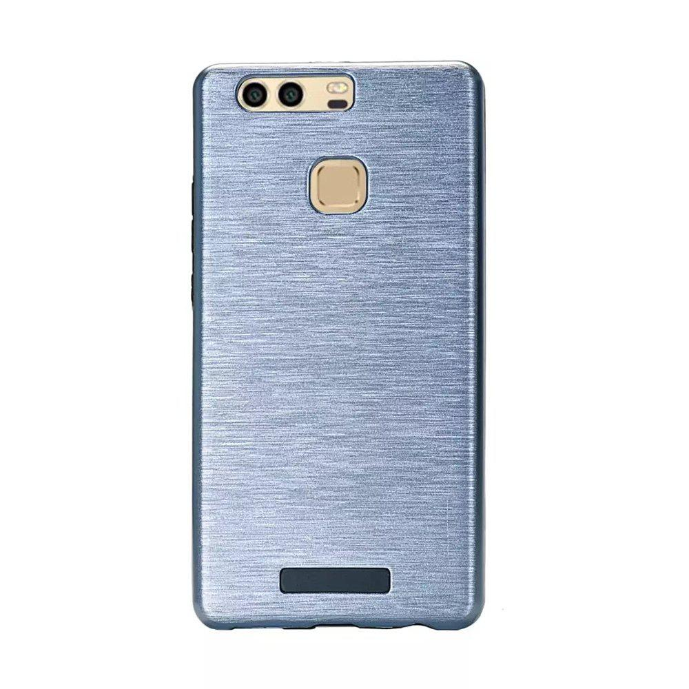 Metal Wiredrawing Soft TPU Hybrid Shockproof Hard Armor Case for Huawei P9 Plus - CHAMBRAY