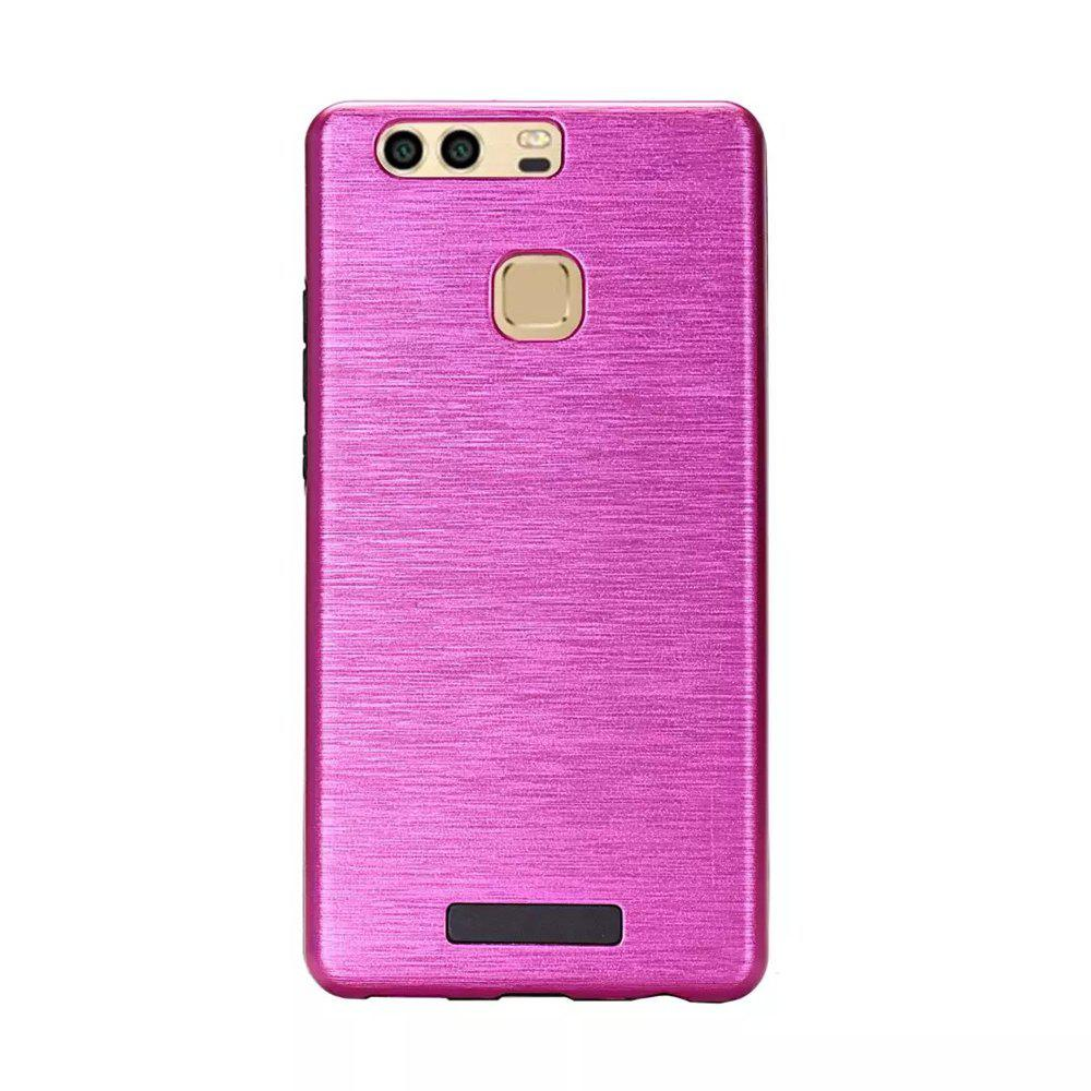 Metal Wiredrawing Soft TPU Hybrid Shockproof Hard Armor Case for Huawei P9 Plus - ROSE RED
