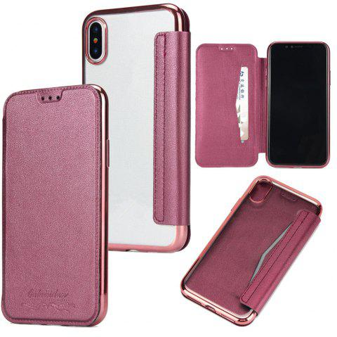 Sumptuous PU Leather Folio Flip Case with Card Slot Clear Soft TPU Back Cover for iPhone 7 Plus / 8 Plus - RED
