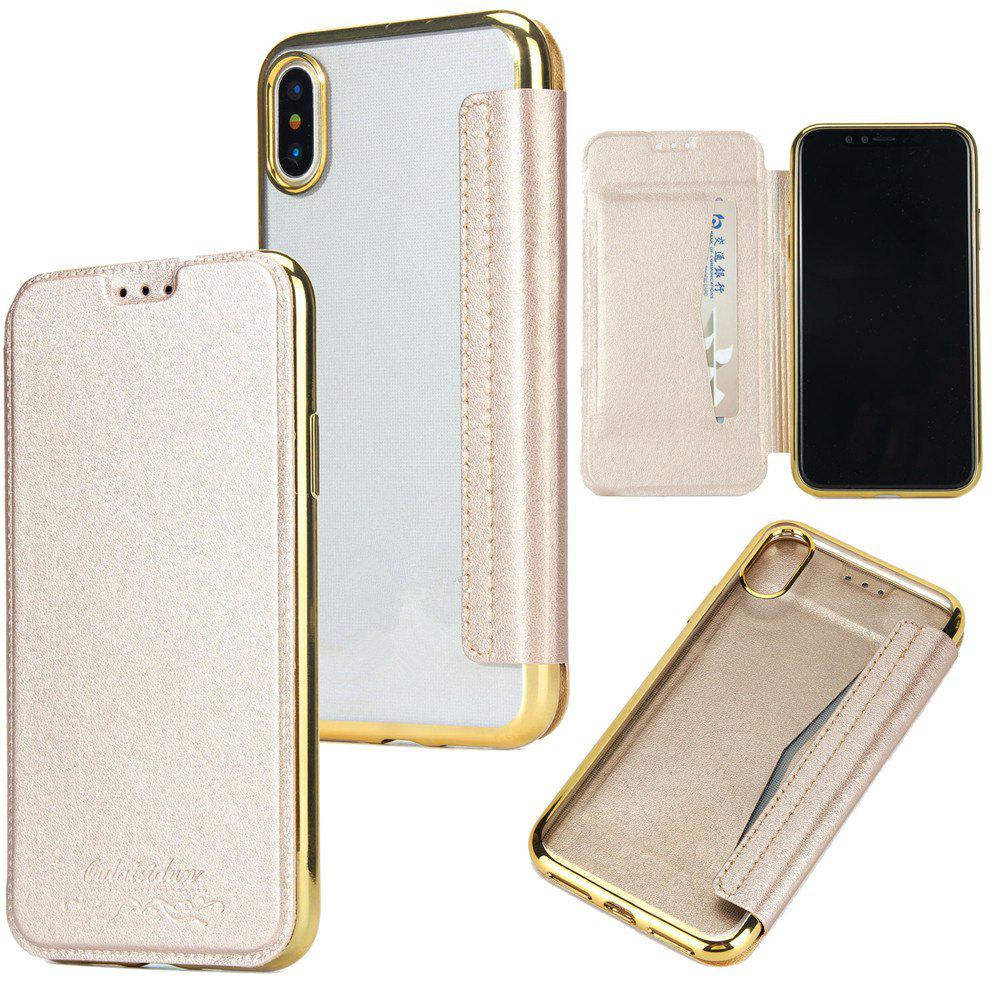 Sumptuous PU Leather Folio Flip Case with Card Slot Clear Soft TPU Back Cover for iPhone 7 Plus / 8 Plus - GOLDEN