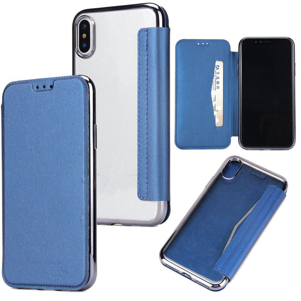 Sumptuous PU Leather Folio Flip Case with Card Slot Clear Soft TPU Back Cover for iPhone 7 Plus / 8 Plus - DEEP BLUE