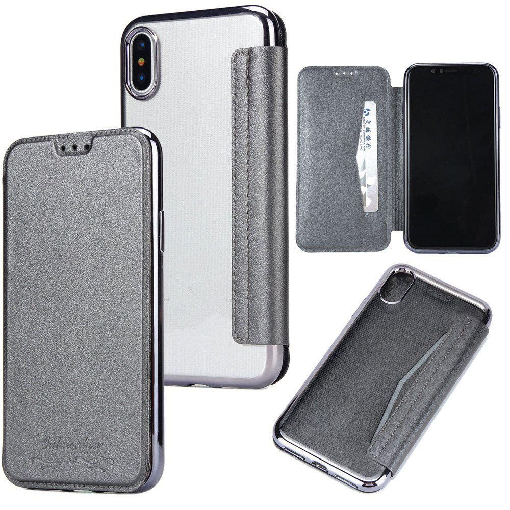 Sumptuous PU Leather Folio Flip Case with Card Slot Clear Soft TPU Back Cover for iPhone 7 Plus / 8 Plus - GRAY