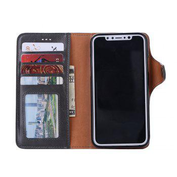 Premium PU Leather Wallet Case Cover 2 in 1 Removable Shell Magnetic Flip Cover for iPhone X - GRAY
