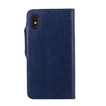 Premium PU Leather Wallet Case Cover 2 in 1 Removable Shell Magnetic Flip Cover for iPhone X - DEEP BLUE