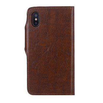 Premium PU Leather Wallet Case Cover 2 in 1 Removable Shell Magnetic Flip Cover for iPhone X - BROWN