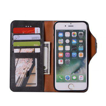 Premium PU Leather Wallet Case Cover 2 in 1 Removable Shell Magnetic Flip Cover for iPhone 7 / 8 - BLACK