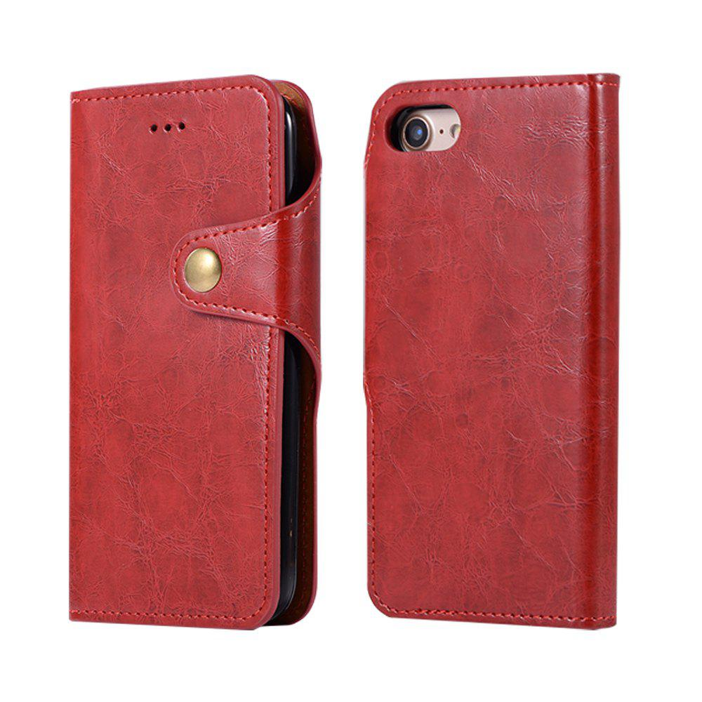 Premium PU Leather Wallet Case Cover 2 in 1 Removable Shell Magnetic Flip Cover for iPhone 7 / 8 - RED