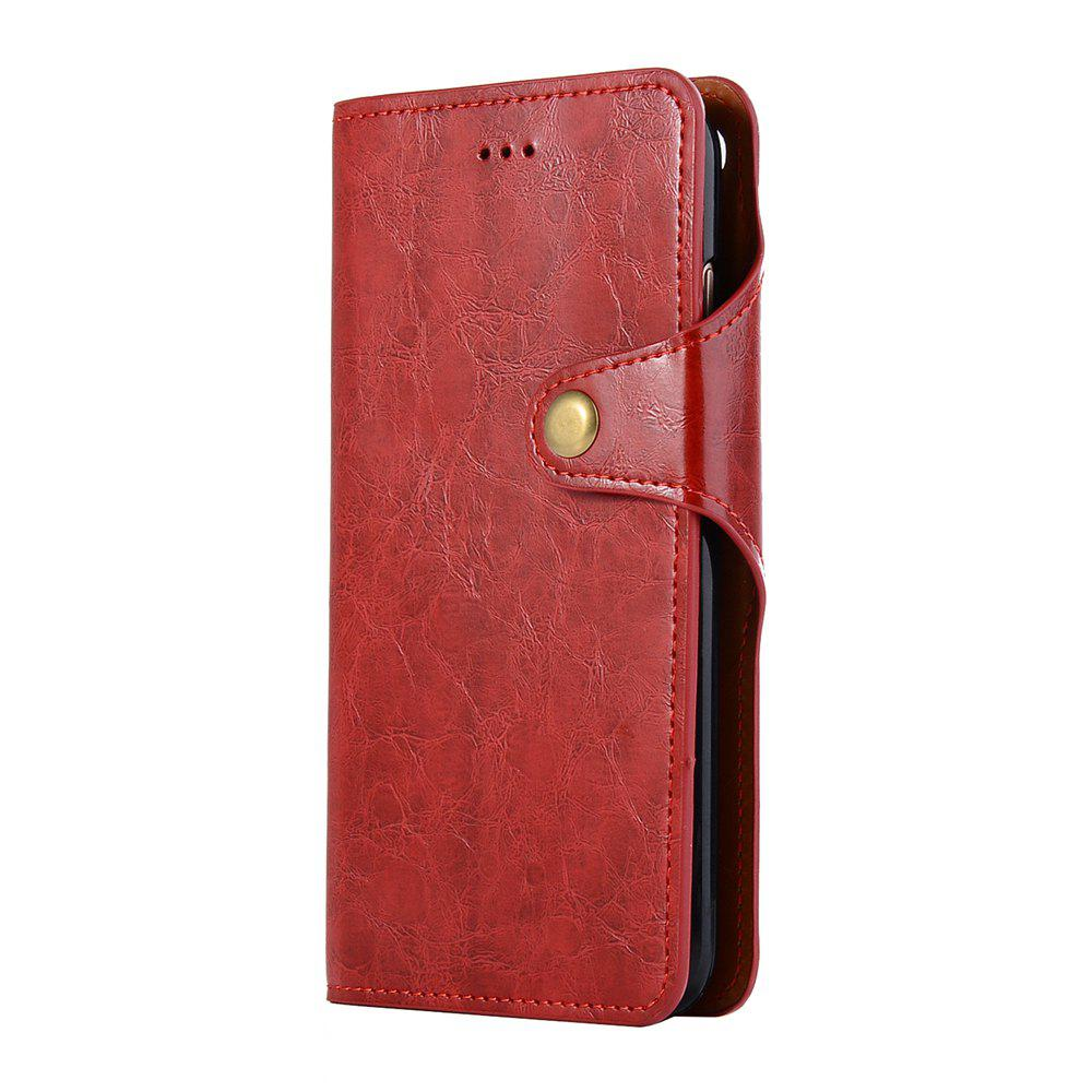Premium PU Leather Wallet Case Cover 2 in 1 Removable Shell Magnetic Flip Cover for iPhone 7 Plus / 8 Plus - RED