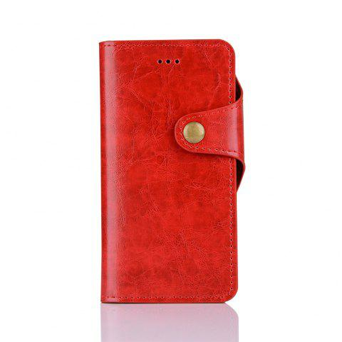 2 in 1 Removable Shell Magnetic Flip  Cover PU Leather Wallet Case for iPhone 6  /  6S - RED