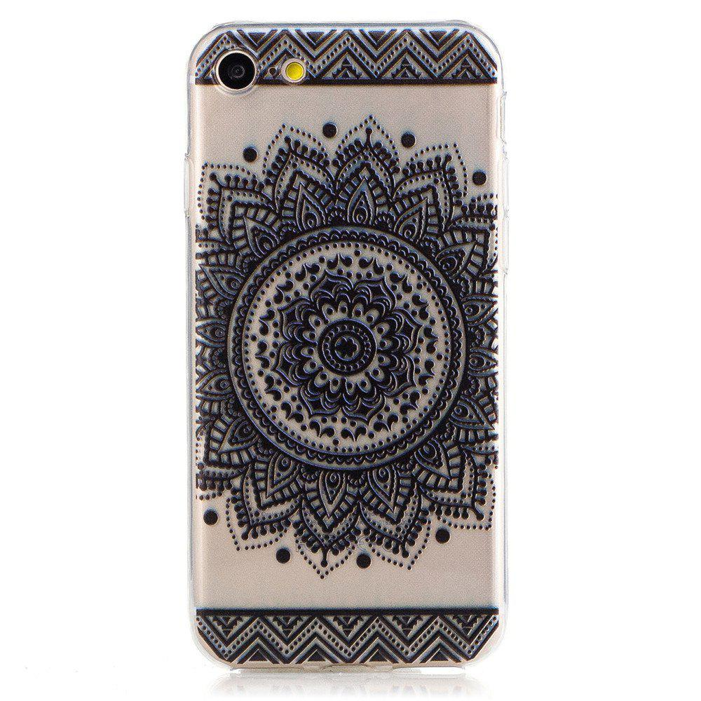 Mandala Pattern TPU Silicone Gel Soft Clear Case Cover for iphone 7/8 - BLACK