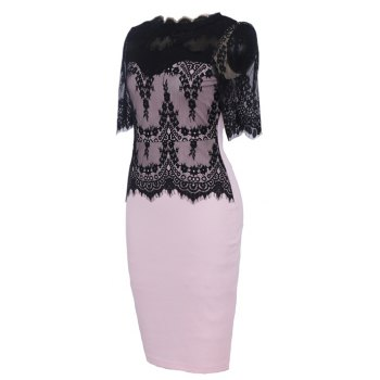 Hot Sale New Style Fashion Lace Party Parthwork Sexy Half Sleeve Pencil Dress - PINK M