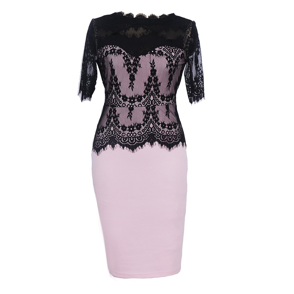 Hot Sale New Style Fashion Lace Party Parthwork Sexy Half Sleeve Pencil Dress