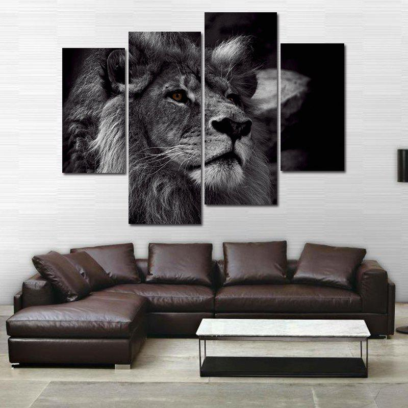 Modern Frameless Oil Paintings For Home Wall Decoration 4PCS   BLACK/WHITE