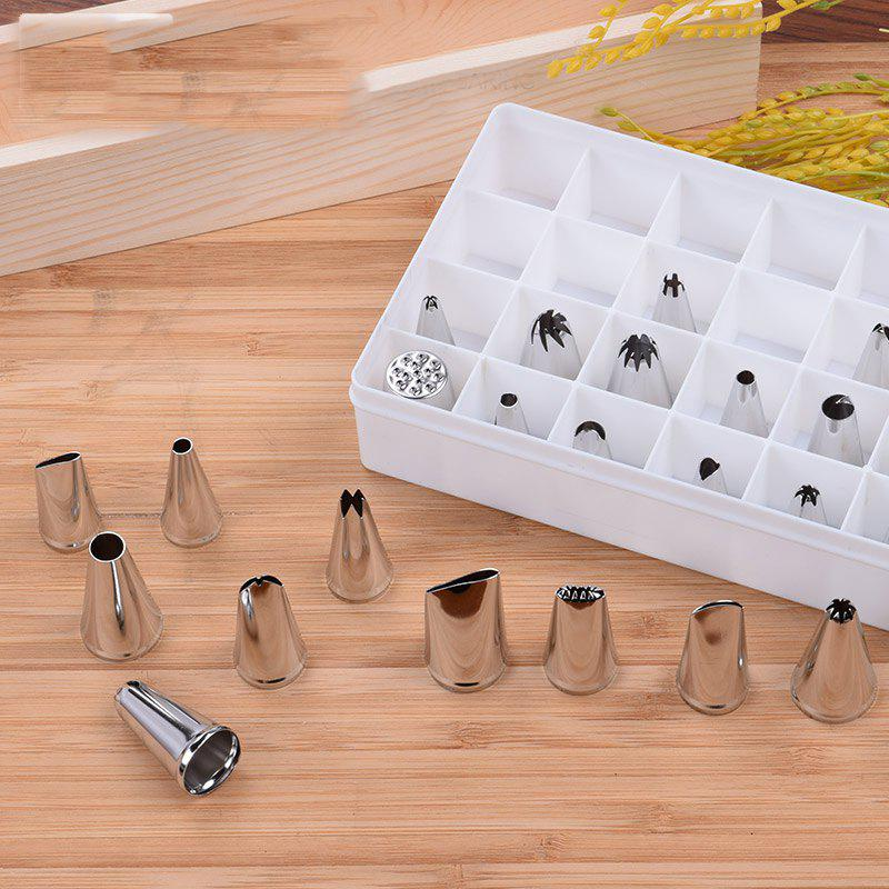 DIHE Cookies Cake Nozzle Suit Stainless Steel Multifunction Piping Tips 24PCS - COLORMIX