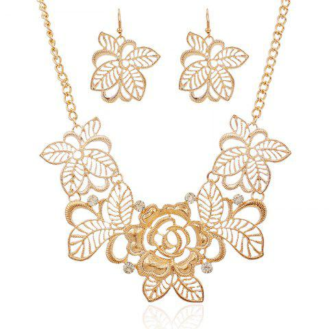 Gold Flower Hollow Diamond Earrings Long Necklace Set - GOLD