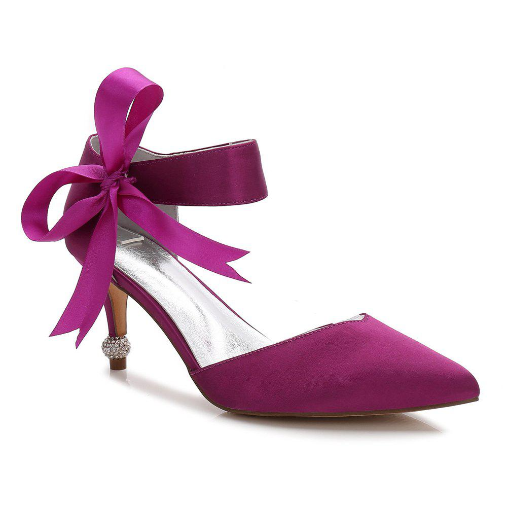 WoMen Satin Spring Summer Comfort Ankle Strap Wedding Shoes PURPLE