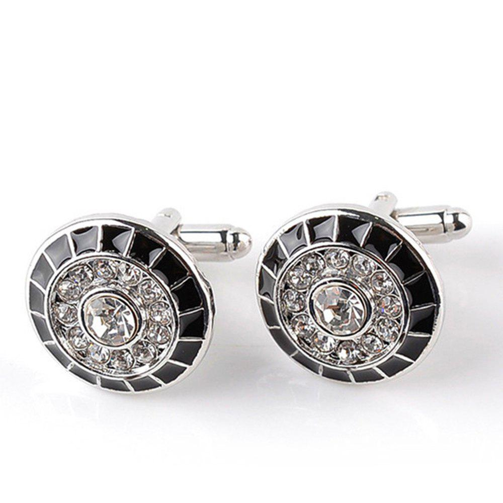 Men's Cufflinks All Match Trend Round Alloy Cuff Buttons Accessory - BLACK / SILVER