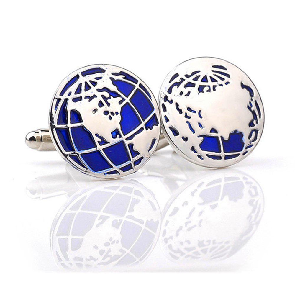 Men's Cufflinks Personality World Map Pattern Cuff Buttons Accessory - BLUE