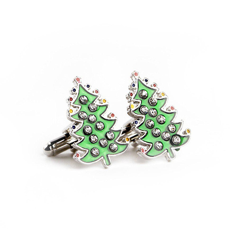 Men's Cufflinks Brief Design Christmas Tree Shape Cuff Buttons Accessory - GREEN