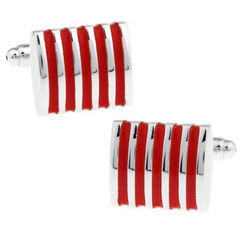 Men's Cufflinks Alloy Stripe Stylish Design Color Block Fashionable Cuff Buttons Accessory - RED