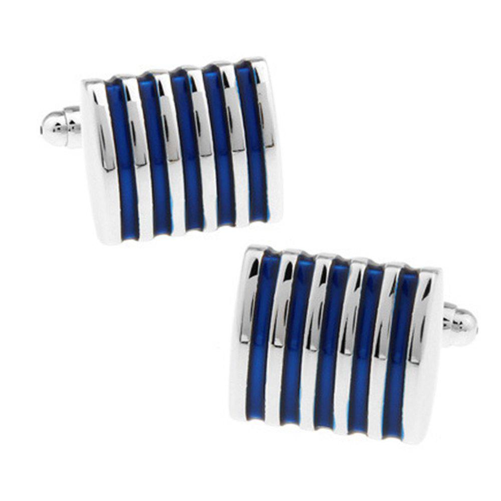 Men's Cufflinks Alloy Stripe Stylish Design Color Block Fashionable Cuff Buttons Accessory - BLUE