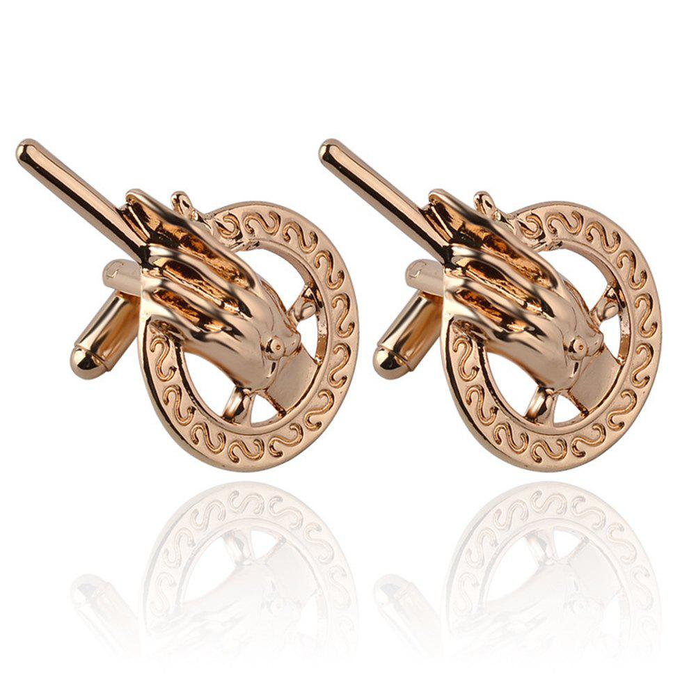 Men's Cufflinks Original Solid Color Palm Shape Cuff Buttons Accessory - GOLDEN